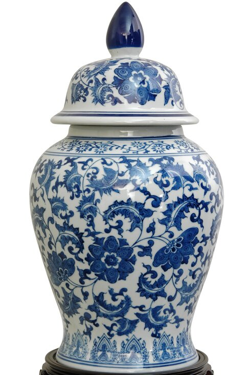 Christophe Blue Porcelain Decorative Urn