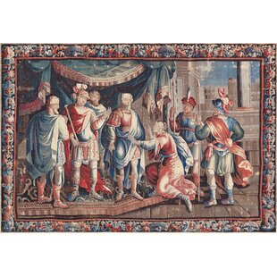 One-of-a-Kind Antique Aubusson Tapestry Handwoven Wool/Silk Red/Blue Indoor Area Rug by Mansour
