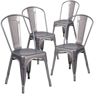 Guglielmo Coated Metal Indoor Stackable Dining Chair (Set of 4)