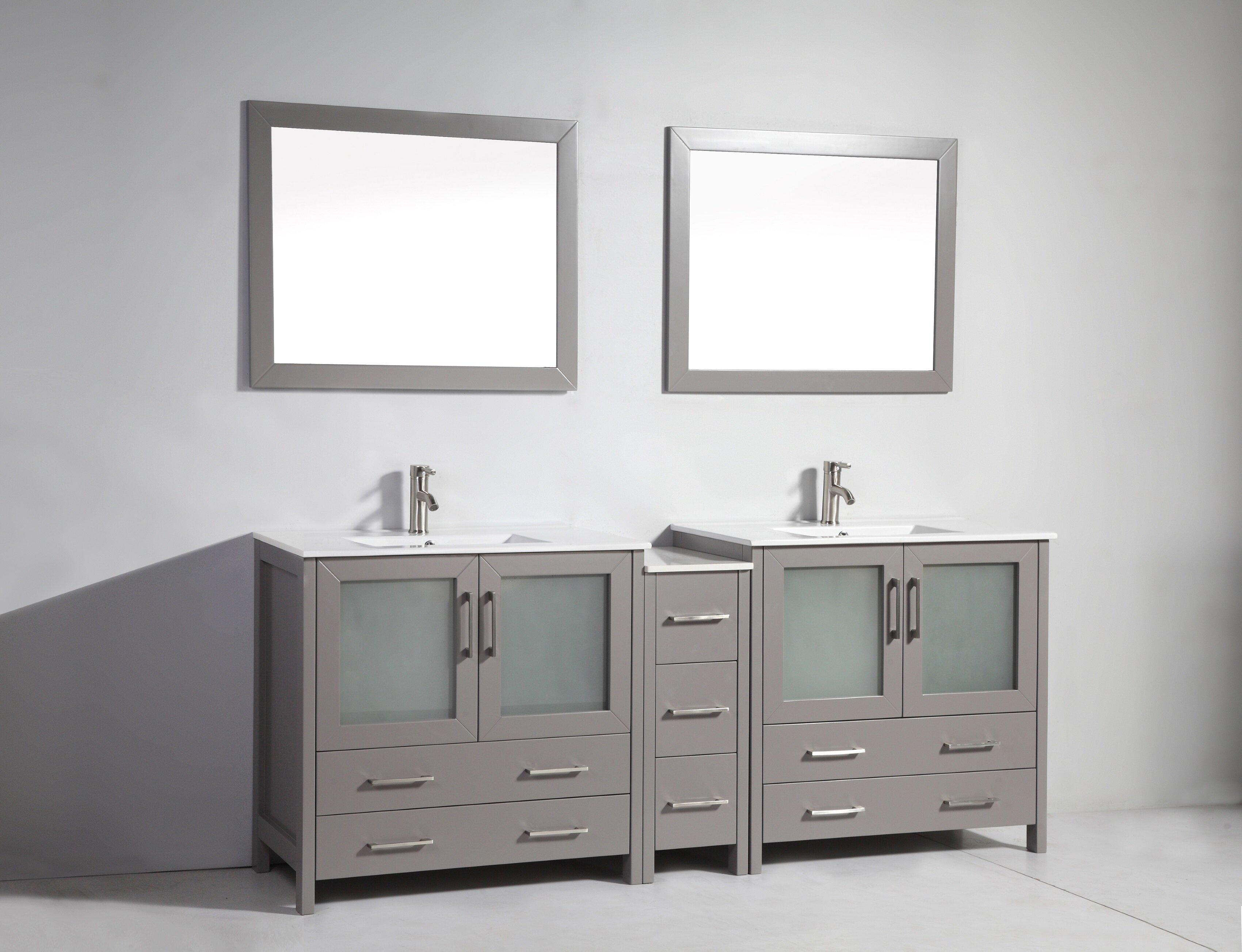 Wrought Studio Box 84 Double Bathroom Vanity Set With Mirror