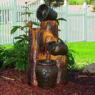 Outdoor fountains youll love wayfair resin solar cascading log and buckets on demand water fountain with led light workwithnaturefo