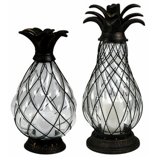 Reviews Pineapple LED 2 Piece Iron Lantern Set By Jeco Inc.