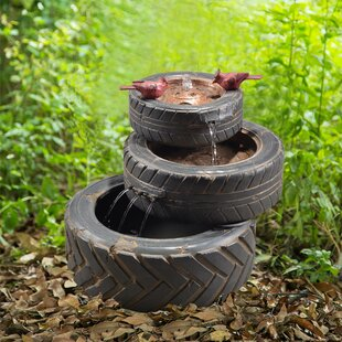 Peaktop Resin Outdoor Stacked Aged Tires Fountain