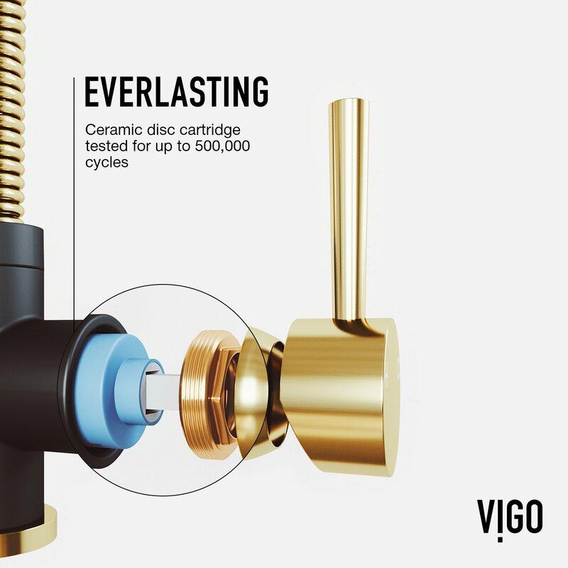 Vigo Brant Pull Down Single Handle Kitchen Faucet Reviews Wayfair