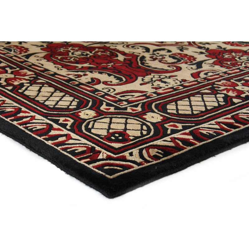 Hand Knotted Wool Black Red Area Rug
