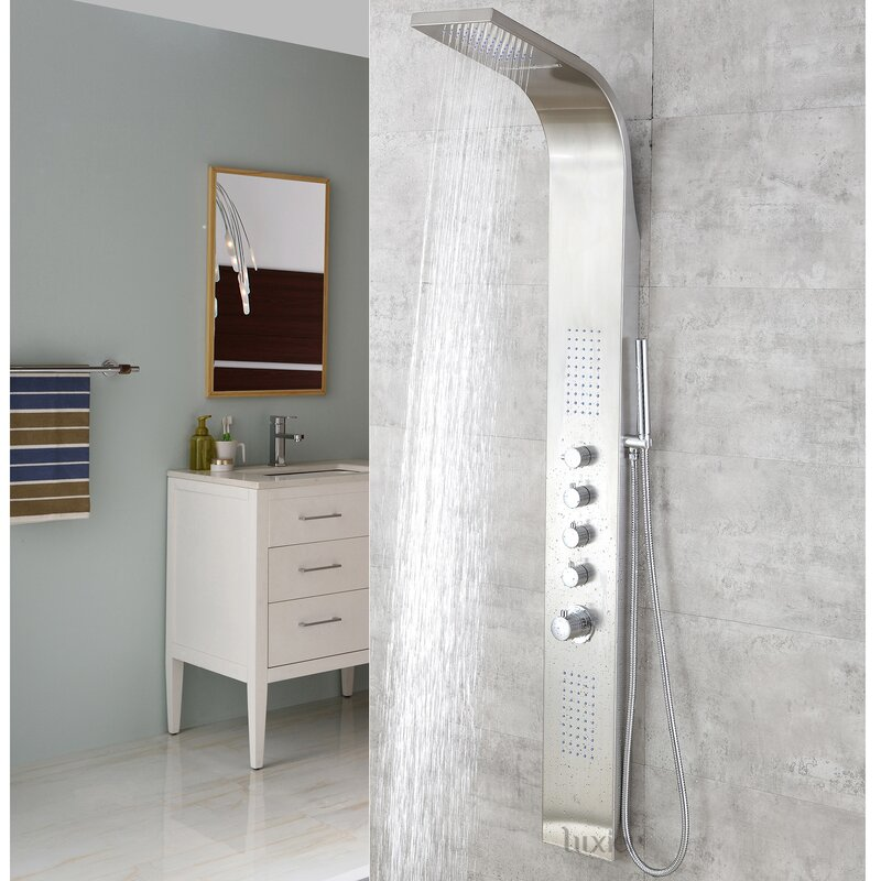 Luxier Stainless Steel Rain Massage System Rainfall Shower Panel ...
