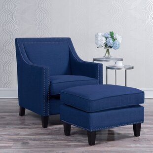 Rotterdam Armchair and Ottoman by Three Posts