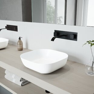 Inexpensive Camellia Stone Square Vessel Bathroom Sink with Faucet By VIGO