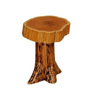 Fireside Lodge Cedar Stump End Table with Slab Top