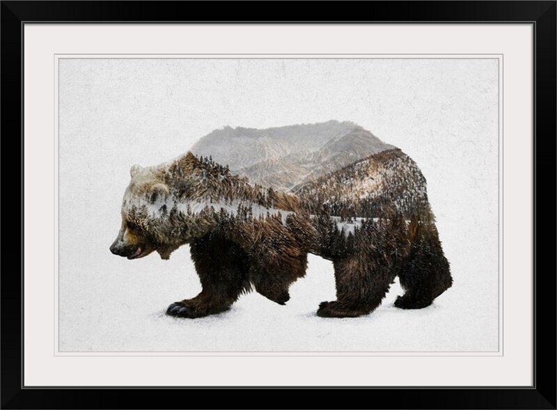 Wall Art Décor Grizzly Bear Picture on Stretched Canvas Ready to Hang