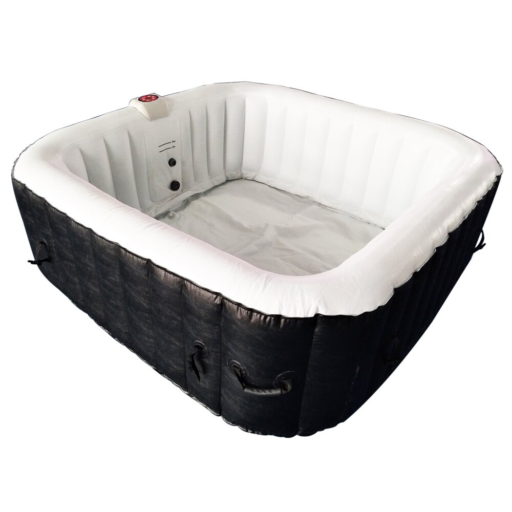 ALEKO Square Portable Hot Tub 4-Person 130-Jet Inflatable Plug and ...