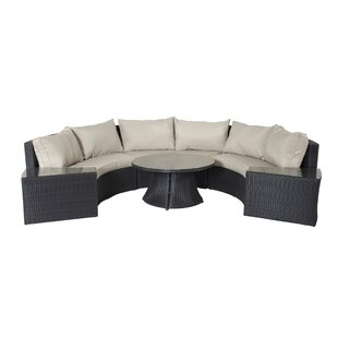 Latitude Run Gadson 6 Piece Rattan Sectional Set with Cushions