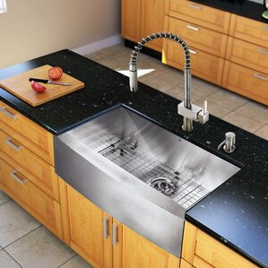 VIGO 30 inch Farmhouse Apron Single Bowl 16 Gauge Stainless Steel Kitchen Sink with Lincroft Stainless Steel Faucet, Grid,...