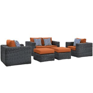 Brayden Studio Keiran 5 Piece Sunbrella Sofa Set with Cushions