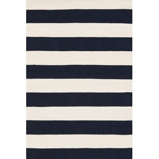 Catamaran Hand Woven White/Blue Indoor/Outdoor Area Rug