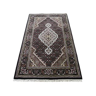 Reviews One-of-a-Kind Providence 250 KPSI Hand-Knotted 2'10'' x 5'2'' Wool/Silk Black/Green/Red Area Rug By Isabelline