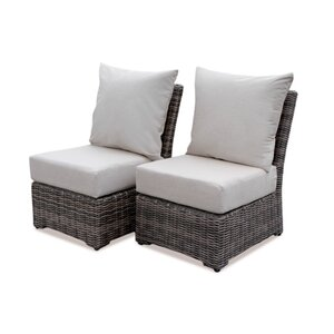 Valentin Armless Deep Seating Chair with Cushion (Set of 2)