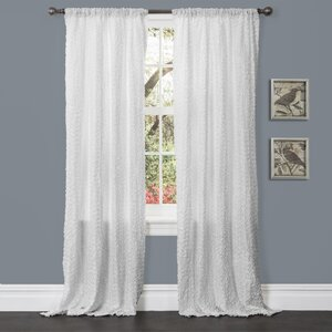 Rosina Nature/Floral Semi-Sheer Rod Pocket Single Curtain Panel