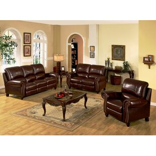 Kahle Pushback Reclining 3 Piece Leather Living Room Set