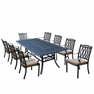 Darby Home Co Otsego 9 Piece Aluminum Dining Set with Fabric Cushions