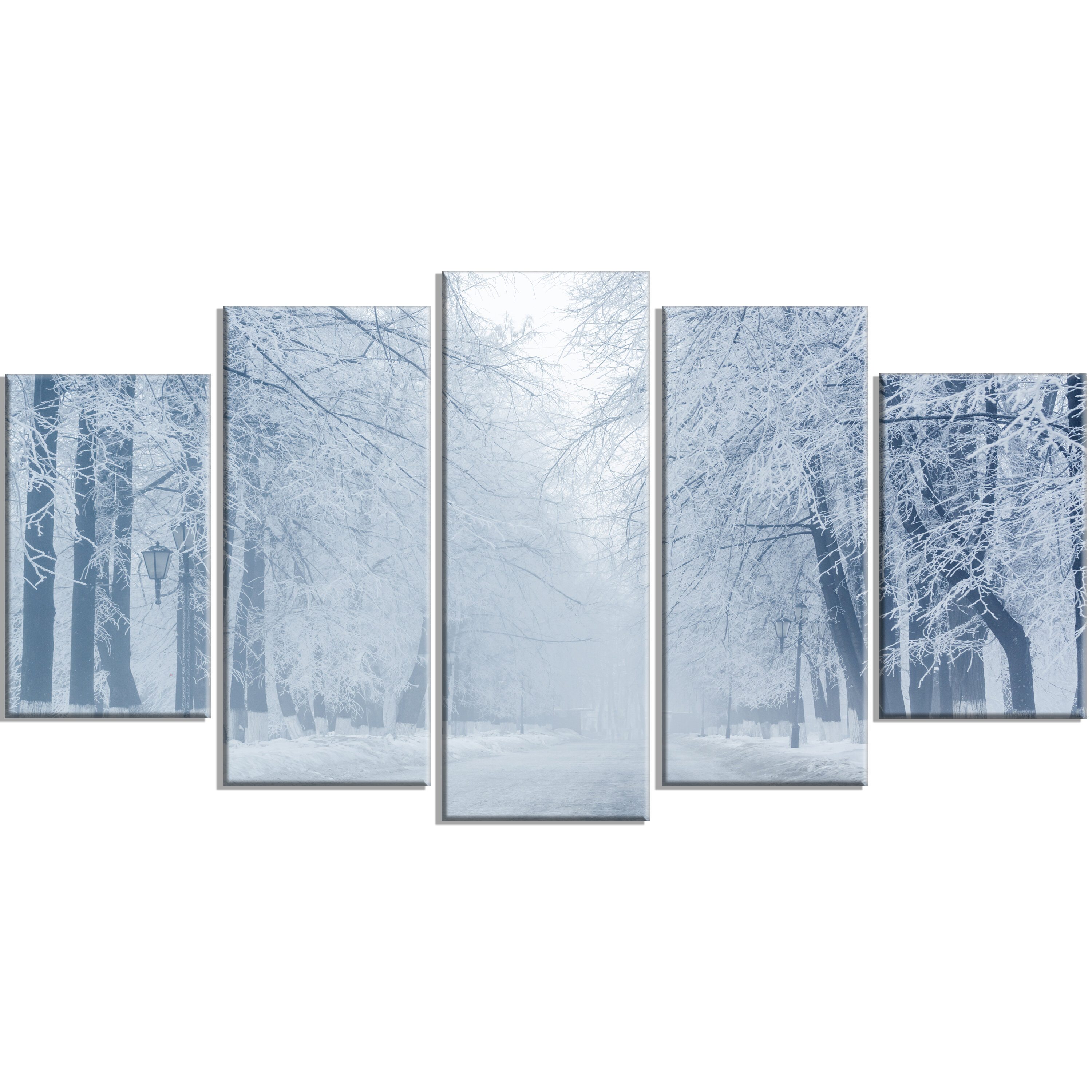 Designart White Road And Winter Trees 5 Piece Wall Art On Wrapped Canvas Set Wayfair