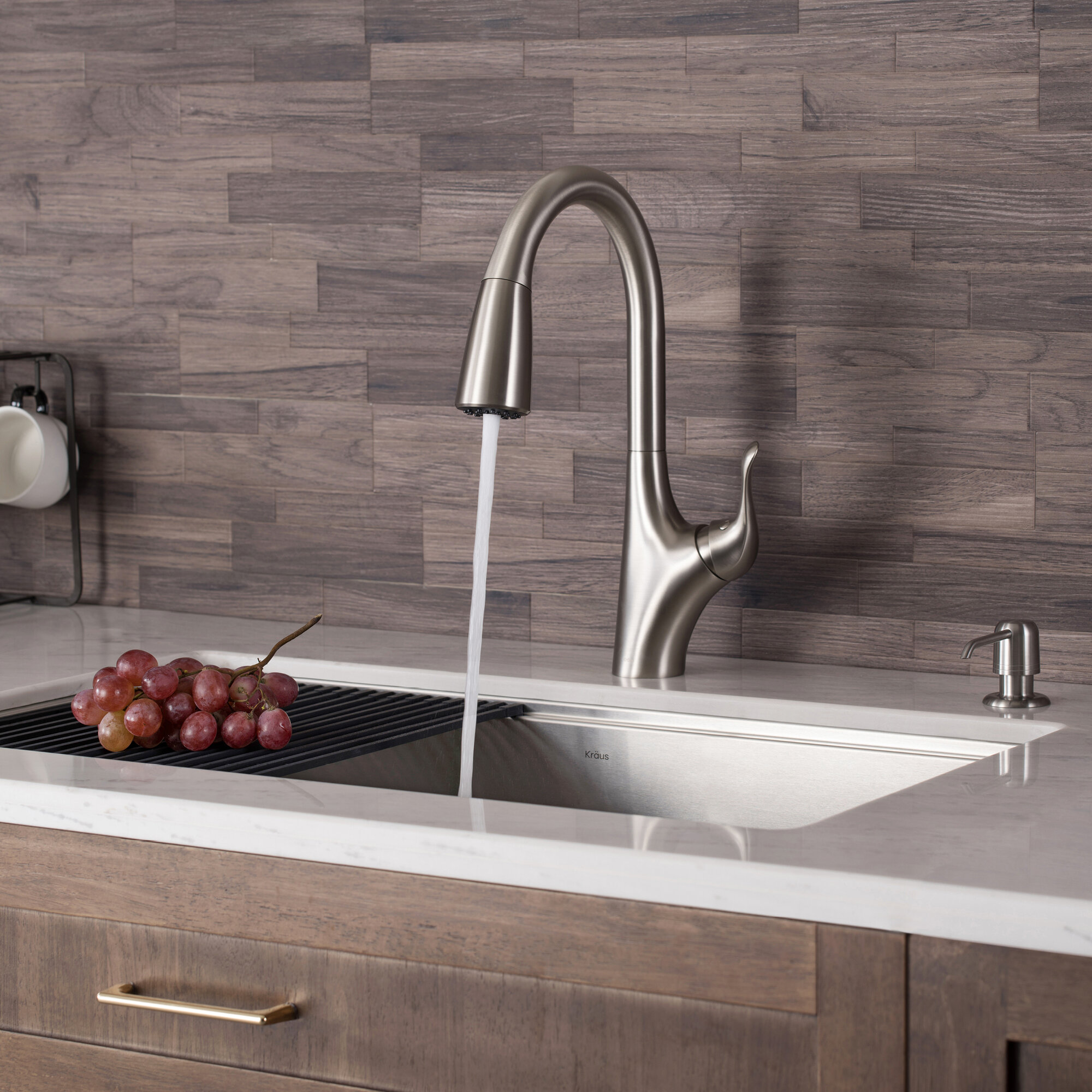 Kraus Merlin Stainless Steel Pull Down Touch Single Handle Kitchen Faucet Reviews Wayfair