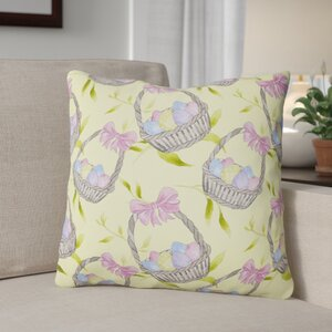 Easter Basket and Eggs Outdoor Throw Pillow