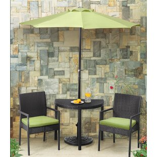 Andover Mills Sibley Balcony 3 Piece Bistro Set with Cushions and Umbrella