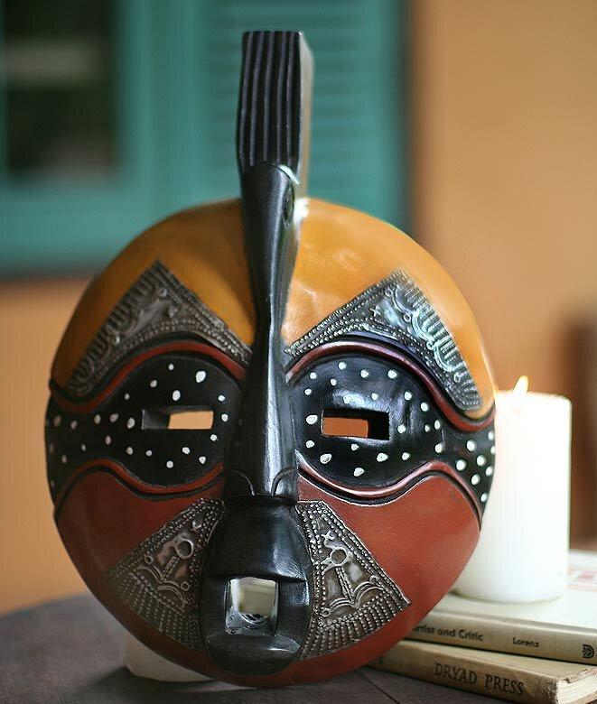 Robert Nortey Yellow Bird Hand Carved Akan Tribal Mask Wall Decor