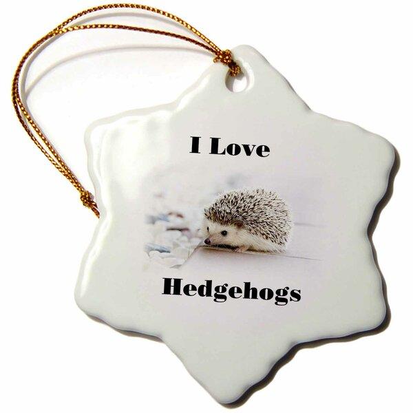 The Holiday Aisle Print Of I Love Hedgehogs Snowflake Holiday Shaped Ornament Wayfair