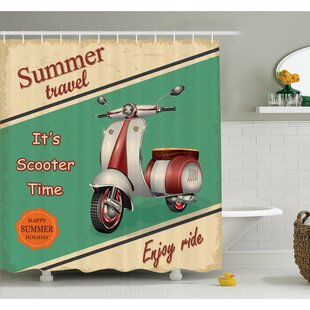 Scooter Motorbike Summer Travel Italian City Sight Hipster Enjoy Ride Illustration Shower Curtain Set