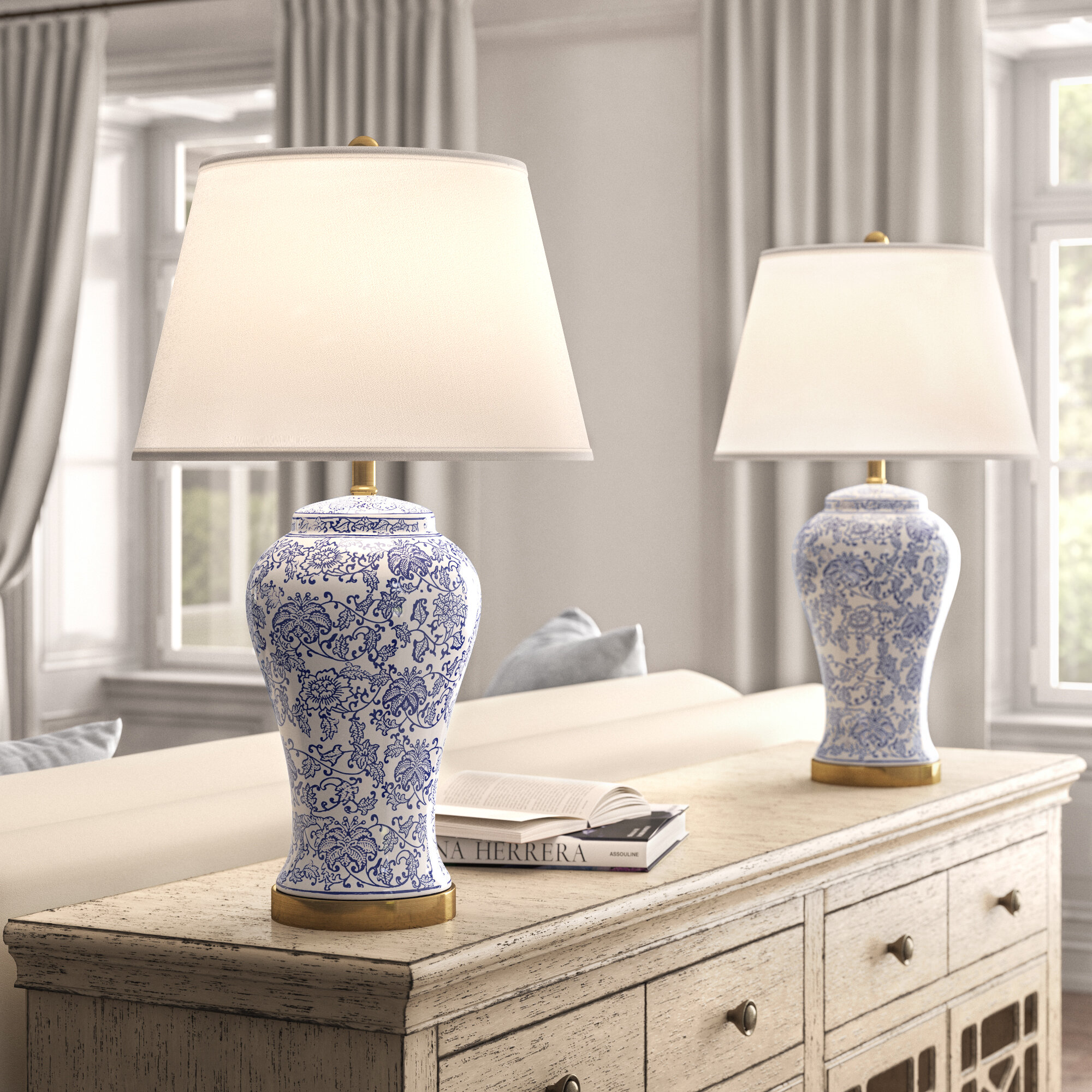 Picture of: Kelly Clarkson Home 29 Blue White Table Lamp Set Reviews