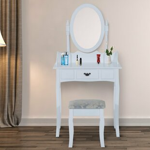 Wooden Makeup Jewelry Cosmetic Storage Drawer Padded Seat Dressing Table Set With Mirror By HOMCOM