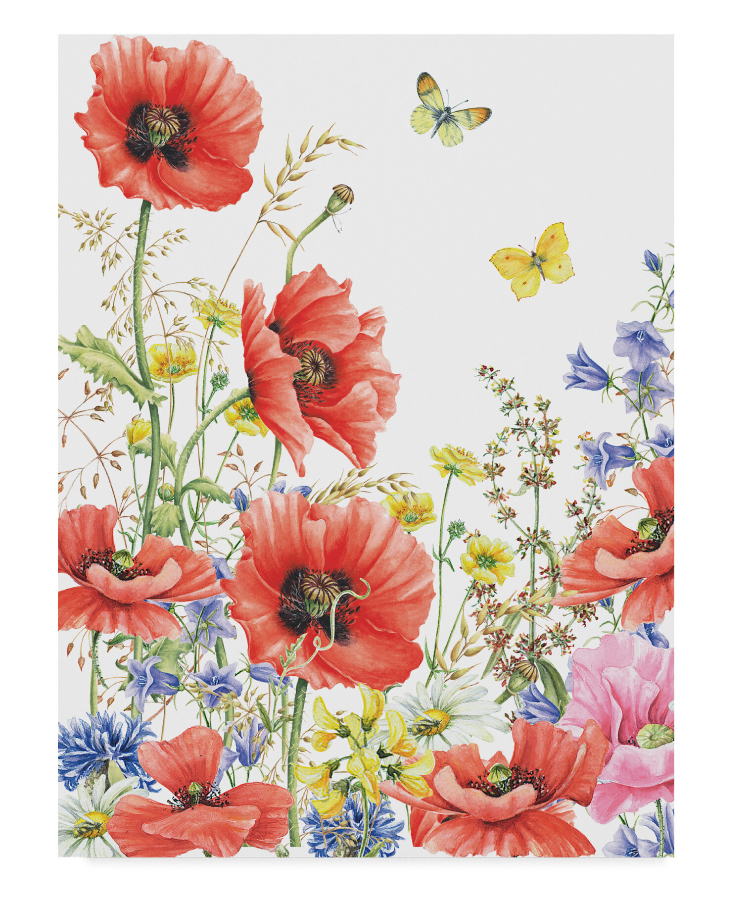 Red Poppy Field 3D Window View Floral Poster Art Wall Prints