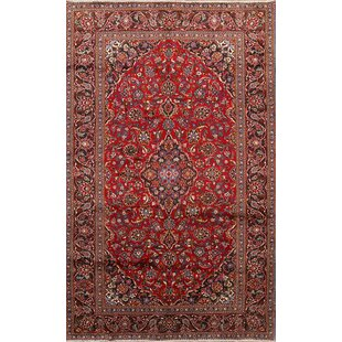 Best Reviews One-of-a-Kind Thielen Vintage Genuine Persian Kashan Hand-Knotted 6'7 x 10'4 Wool Blue/Burgundy Area Rug By Isabelline