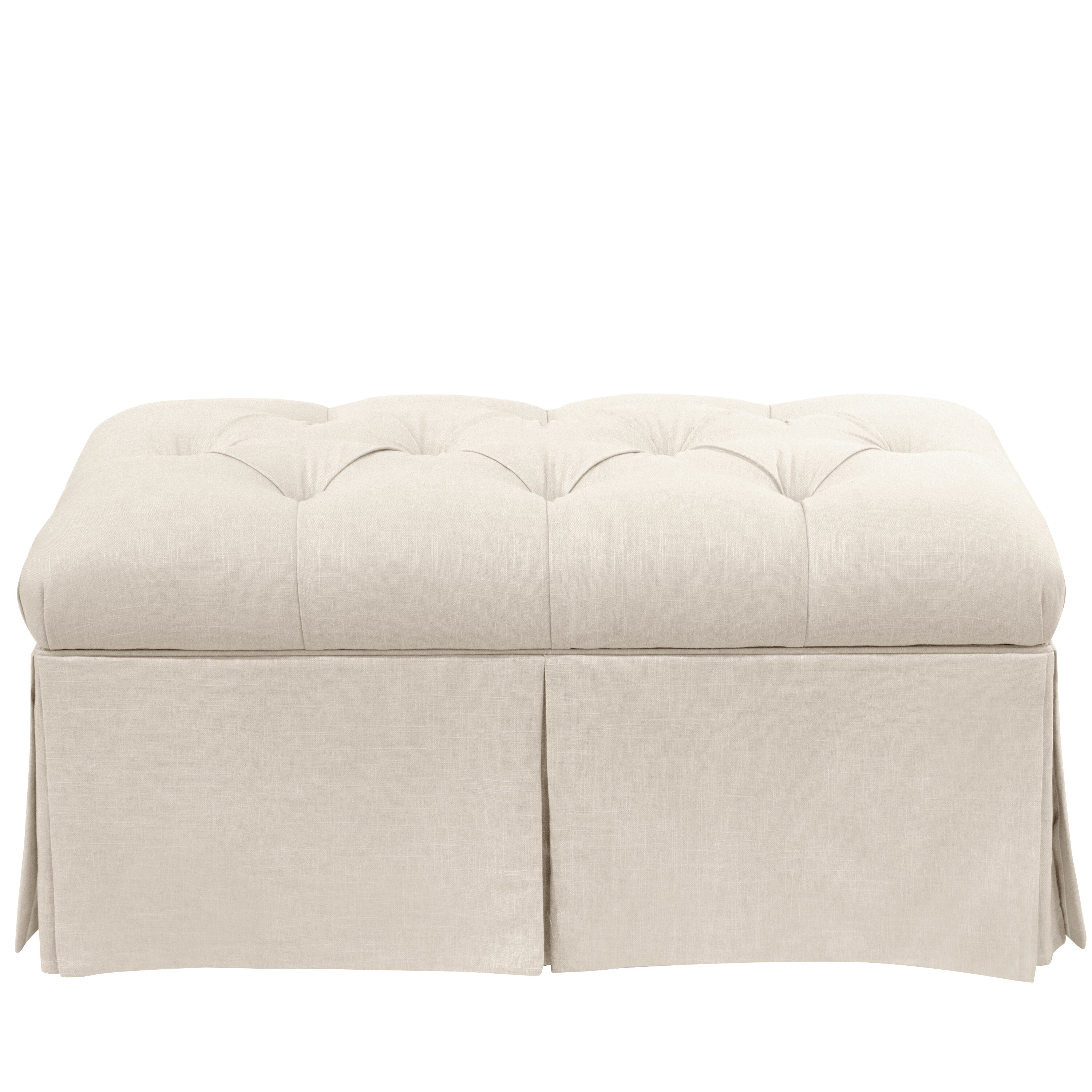 Remarkable Craven Tufted Linen Skirted Storage Bench Caraccident5 Cool Chair Designs And Ideas Caraccident5Info