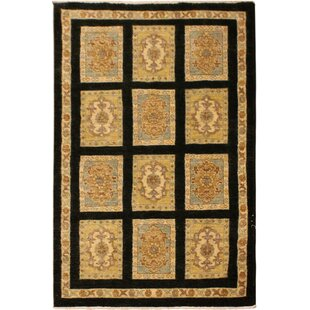 Top Reviews One-of-a-Kind Dorn Hand-Knotted Wool Black/Beige Area Rug By Isabelline