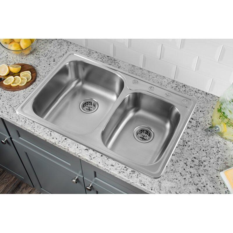 soleil 33 l x 22 w drop in double bowl kitchen sink reviews rh wayfair com kitchen sink double bowl with drainer kitchen sinks double bowl and drainer