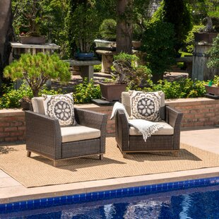 Midland Outdoor Wicker Club Patio Chair with Cushions (Set of 2)