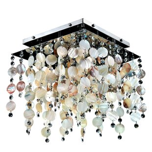 Glow Lighting Cityscape Oyster Shell and Crystal Square 4-Light Flush Mount