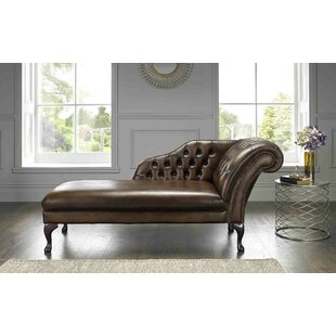 Collis Antique Genuine Leather Chaise Lounge By Astoria Grand