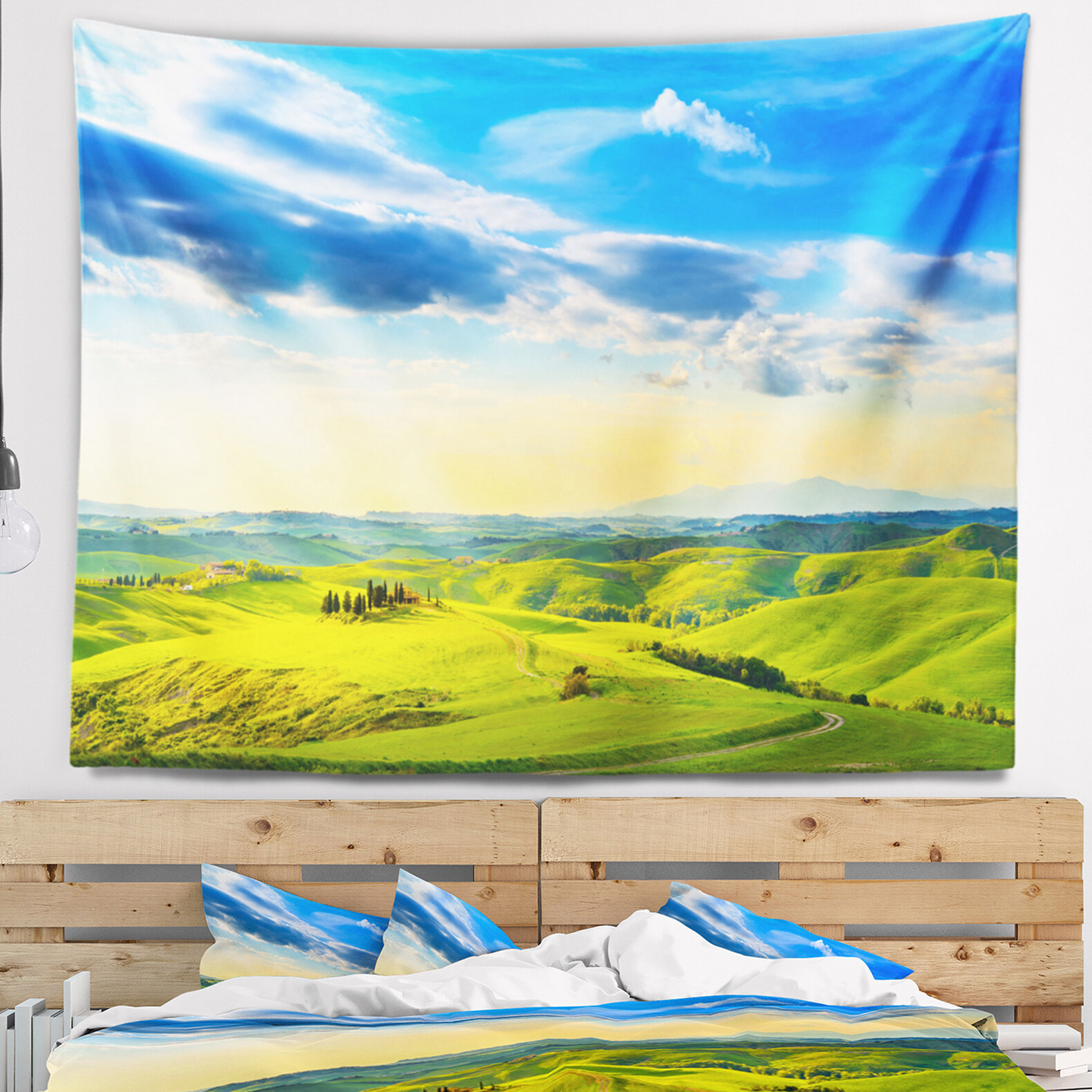 East Urban Home Colorful Tuscany Countryside Farm Tapestry and Wall ...