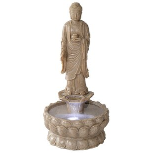 Wildon Home ® Resin Earth Witness Buddha Illuminated Garden Fountain with LED Light