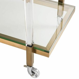 BRASS GLASS TROLLEY