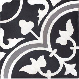 Mealu Roseton Cement Field Tile In Black White Set Of 4