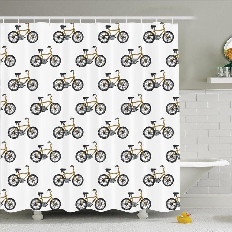 Lake Bicycle Shower Curtain Set