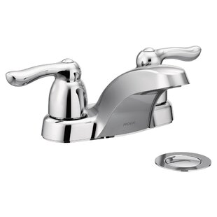 Searching for Chateau Two Handle Centerset Low Arc Bathroom Faucet with Optional Pop-Up Drain ByMoen