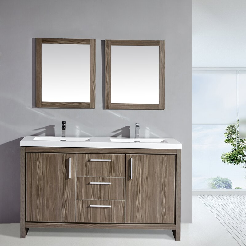 "Bathroom Sinks Miami mtdvanities miami 59"" double sink modern bathroom vanity set with"