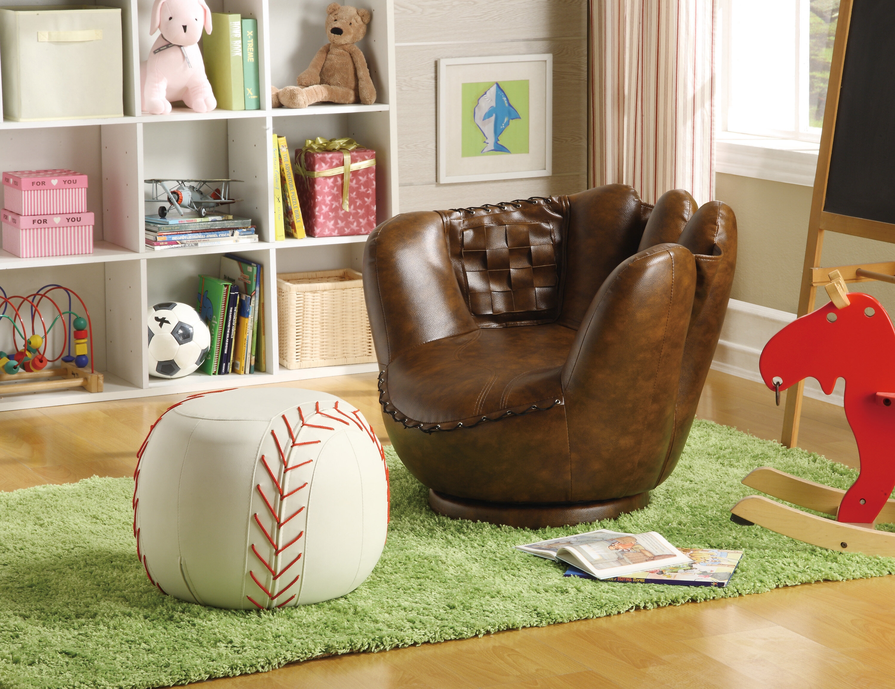 Genial Crown Mark Baseball Glove Kids Faux Leather Chair And Ottoman U0026 Reviews |  Wayfair