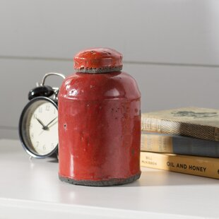 Red Ceramic Lidded Storage Jar
